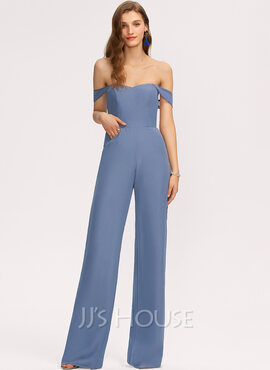 Jumpsuit/Pantsuit Off-the-Shoulder Floor-Length Chiffon Bridesmaid Dress With Pockets (007221196)