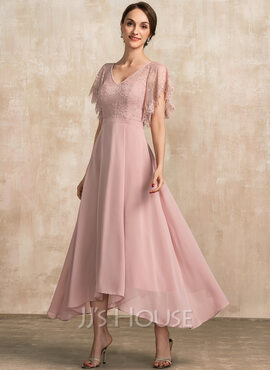 A-Line V-neck Ankle-Length Chiffon Lace Evening Dress (017237028)