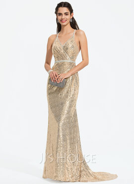 Trumpet/Mermaid V-neck Sweep Train Sequined Prom Dresses With Beading (018187187)