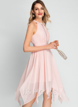 A-Line Scoop Neck Asymmetrical Chiffon Cocktail Dress (016212862)