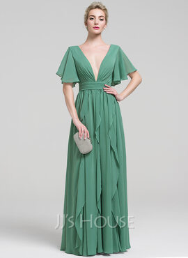 A-Line/Princess V-neck Floor-Length Chiffon Evening Dress With Beading Cascading Ruffles (017093498)