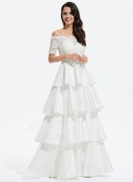 Ball-Gown/Princess Off-the-Shoulder Floor-Length Satin Prom Dresses With Lace (018175922)