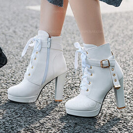 Women's PU Stiletto Heel Boots Ankle Boots With Buckle Zipper Lace-up shoes (088217986)