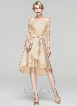 A-Line/Princess Off-the-Shoulder Asymmetrical Satin Cocktail Dress With Sequins Bow(s) (016094375)