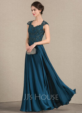 A-Line/Princess Sweetheart Floor-Length Lace Satin Chiffon Evening Dress