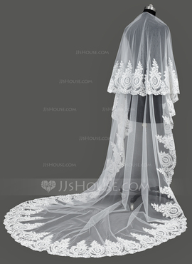One-tier Cathedral Bridal Veils With Lace Applique Edge (006053194)