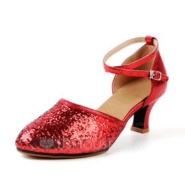 Women's Leatherette Sparkling Glitter Heels Sandals Ballroom Swing With Buckle Hollow-out Dance Shoes