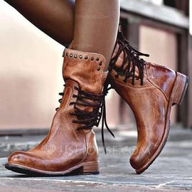 Women's Leatherette Low Heel Boots With Rivet Lace-up shoes (088212930)