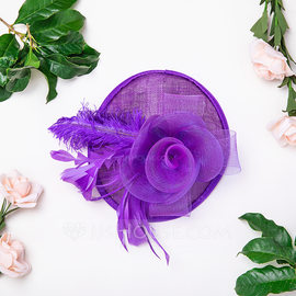 Ladies' Beautiful/Elegant Cotton With Feather/Silk Flower/Tulle Fascinators/Kentucky Derby Hats/Tea Party Hats (196176651)