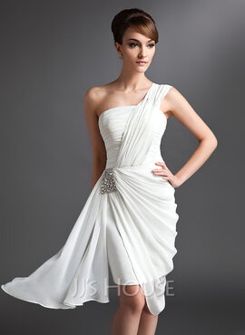 Sheath/Column One-Shoulder Asymmetrical Chiffon Cocktail Dress With Ruffle Beading (016024431)