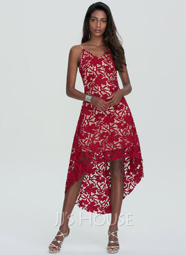 A-Line V-neck Asymmetrical Lace Homecoming Dress (022120484)