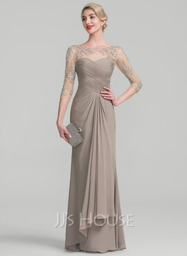 A-Line Scoop Neck Floor-Length Chiffon Lace Mother of the Bride Dress With Beading Sequins Cascading Ruffles (008114233)