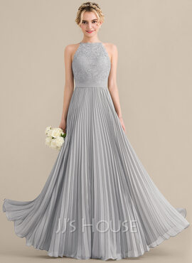 A-Line/Princess Scoop Neck Floor-Length Chiffon Lace Bridesmaid Dress With Pleated (007144770)