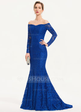 Trumpet/Mermaid Off-the-Shoulder Sweep Train Lace Evening Dress (017186150)