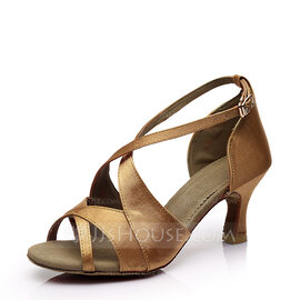 Women's Satin Heels Sandals Latin With Buckle Hollow-out Dance Shoes (053112437)