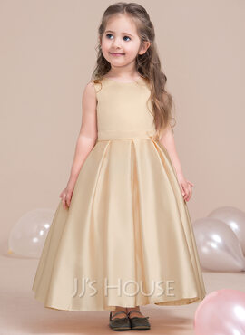 A-Line/Princess Ankle-length Flower Girl Dress - Satin/Lace Sleeveless Scoop Neck (Wrap included) (010115808)