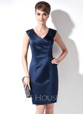 Sheath/Column V-neck Knee-Length Satin Mother of the Bride Dress With Ruffle (008005667)