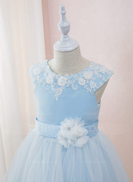 Ball-Gown/Princess Ankle-length Flower Girl Dress - Satin/Tulle/Lace Sleeveless Scoop Neck With Beading/Flower(s) (010195351)