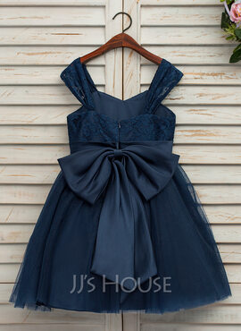 A-Line/Princess Knee-length Flower Girl Dress - Satin/Tulle/Lace Sleeveless Straps With Bow(s) (Undetachable sash)