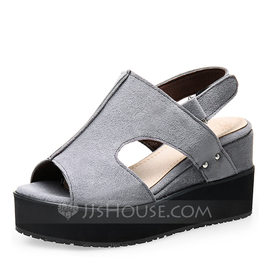 Women's Suede Wedge Heel Sandals Pumps Wedges Peep Toe With Others shoes (116188545)