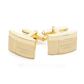 Personalized Simple Design Stainless Steel Cufflinks (Set of 2) (118031914)