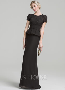 Trumpet/Mermaid Scoop Neck Floor-Length Chiffon Mother of the Bride Dress With Ruffle Beading Sequins (008091931)