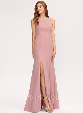 Sheath/Column Scoop Neck Floor-Length Chiffon Bridesmaid Dress With Split Front (007221215)