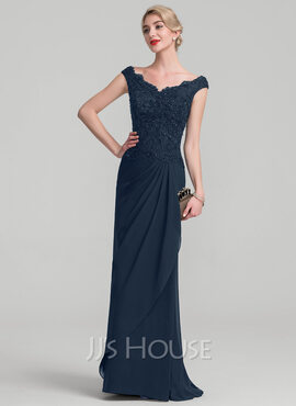 A-Line Off-the-Shoulder Floor-Length Chiffon Lace Mother of the Bride Dress With Beading Sequins Cascading Ruffles (008107675)