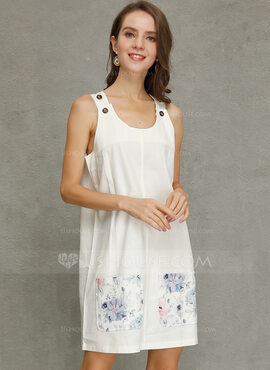 Cotton With Button/Print Above Knee Dress (199222622)