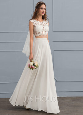 A-Line/Princess Scoop Neck Floor-Length Chiffon Wedding Dress With Beading Sequins (002119806)