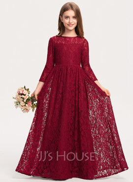 A-Line Scoop Neck Floor-Length Lace Junior Bridesmaid Dress (009208609)
