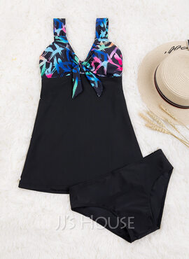 Plus Size Beautiful Colorful Polyester Spandex Swimdresses