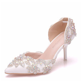 Women's Leatherette Spool Heel Closed Toe Pumps With Crystal (047182371)