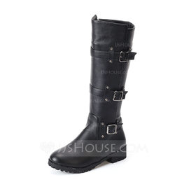Women's Leatherette Low Heel Flats Closed Toe Boots Knee High Boots With Rivet Buckle shoes (088176480)