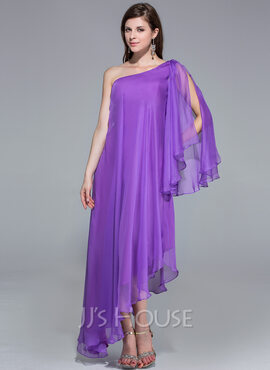 A-Line/Princess One-Shoulder Asymmetrical Chiffon Evening Dress (017026204)