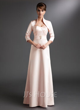 Satin Mother of the Bride Dress With Ruffle
