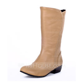 Women's Leatherette Low Heel Closed Toe Boots Mid-Calf Boots shoes (088176508)