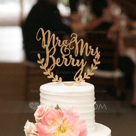 Personalized Mr. & Mrs. Acrylic/Wood Cake Topper (119187809)