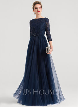 A-Line/Princess Scoop Neck Floor-Length Tulle Evening Dress With Beading (017147949)