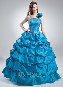 Ball-Gown One-Shoulder Floor-Length Taffeta Quinceanera Dress With Ruffle Beading Sequins