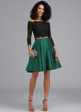 A-Line Off-the-Shoulder Short/Mini Satin Homecoming Dress With Beading Sequins (022203121)