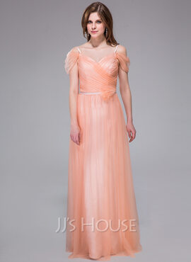 A-Line/Princess V-neck Floor-Length Tulle Holiday Dress With Ruffle Flower(s) (007037182)