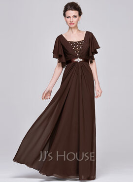 A-Line/Princess Sweetheart Floor-Length Chiffon Mother of the Bride Dress With Ruffle Beading Sequins (008058416)