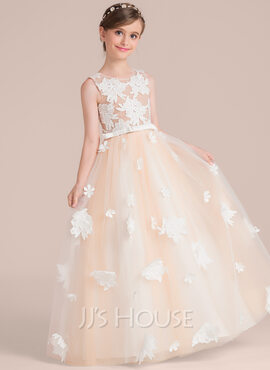 Ball-Gown/Princess Scoop Neck Floor-Length Tulle Junior Bridesmaid Dress With Flower(s) Bow(s) (009130493)
