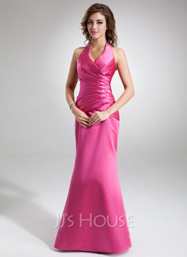 Trumpet/Mermaid Halter Floor-Length Satin Holiday Dress With Ruffle (020032264)