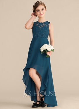 A-Line Scoop Neck Asymmetrical Chiffon Lace Junior Bridesmaid Dress (009165040)