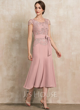 Trumpet/Mermaid Scoop Neck Tea-Length Chiffon Lace Cocktail Dress With Bow(s) (016236980)