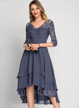 A-Line V-neck Asymmetrical Chiffon Cocktail Dress With Beading Sequins (016212868)