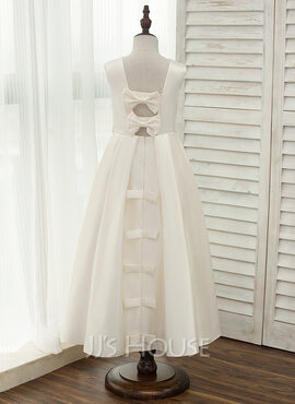 A-Line Ankle-length Flower Girl Dress - Satin Sleeveless Scoop Neck With Bow(s) (010141203)
