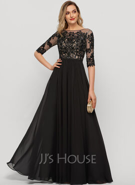 A-Line Scoop Neck Floor-Length Chiffon Evening Dress With Sequins (017209148)
